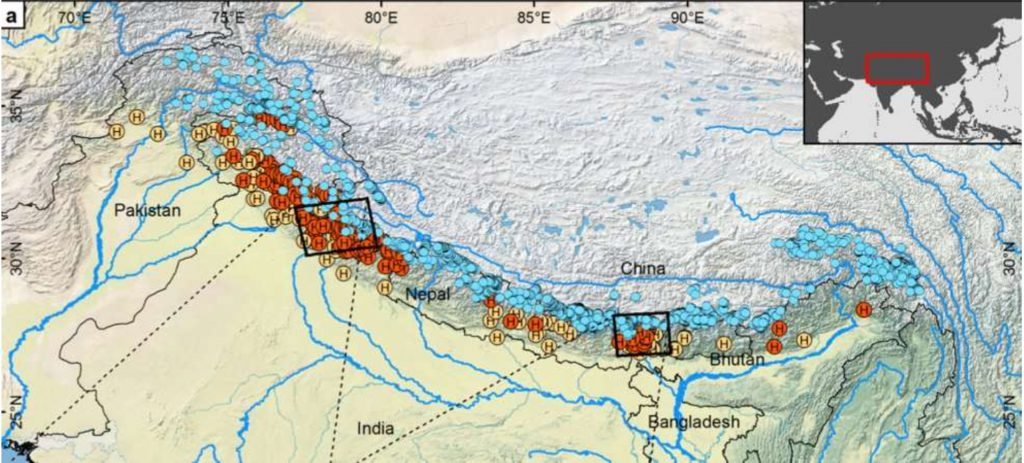 The red and brown circles represent the planned/under construction and operational hydropower projects respectively across the Himalayas. And blue circles are for glacial lakes. Two rectangles point to states of Uttarakhand & Sikkim.